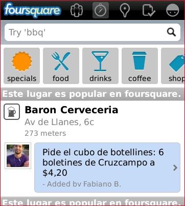 Foursquare actualizado para Blackberry