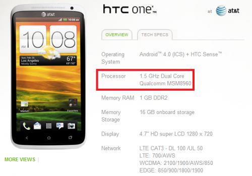 HTC One X será lanzado sin procesador quad core en Estados Unidos