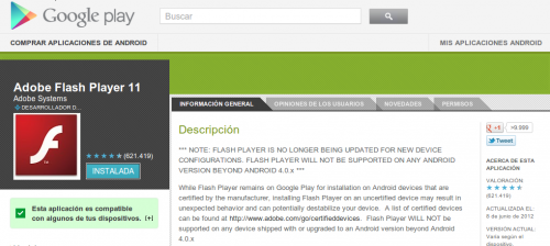 No habrá soporte para Flash Player en Android Jelly Bean