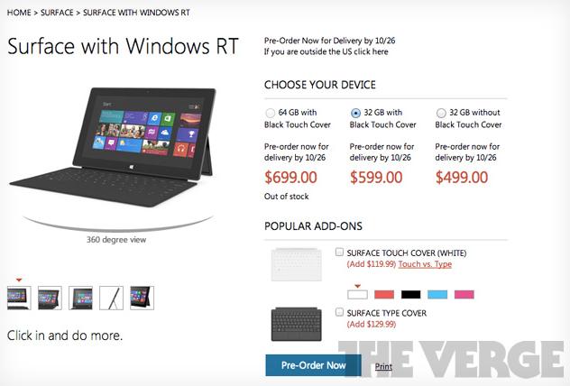 Los precios de Microsoft Surface