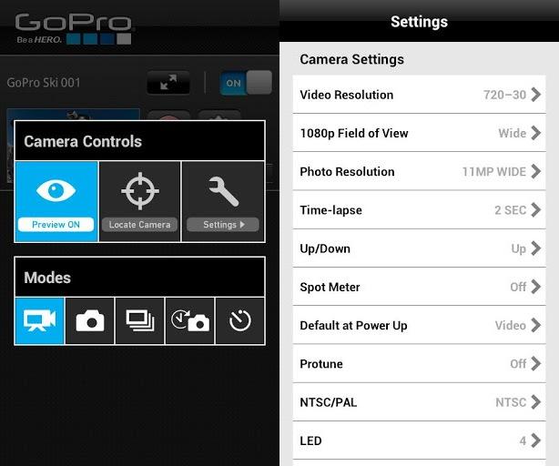 GoPro, cámaras controlables desde Android e iOS