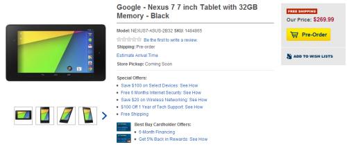 La nueva Nexus 7 aparece en el catálogo de Best Buy antes de su presentación oficial