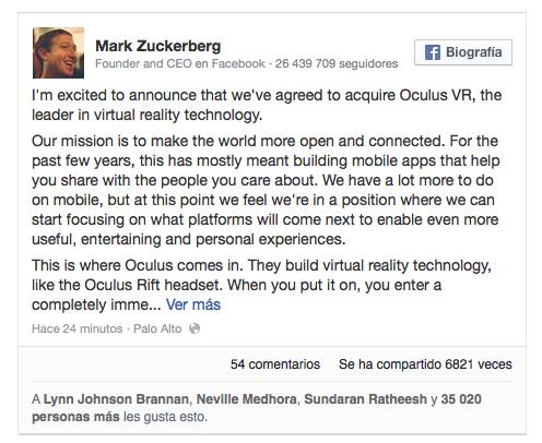 Facebook compra Oculus VR, apuesta por la realidad virtual.