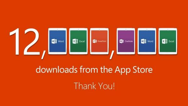 Office para iPad batiendo récords, más de 12 millones de descargas en la App Store.
