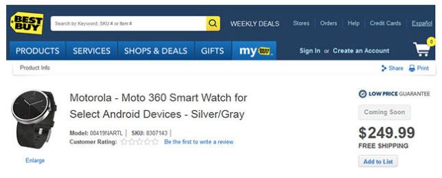 BestBuy filtra las especificaciones y el precio del Moto 360