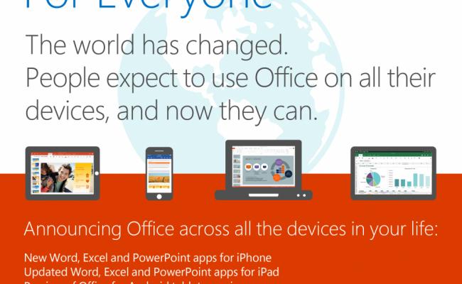 Microsoft está cambiando, Office gratis en dispositivos móviles